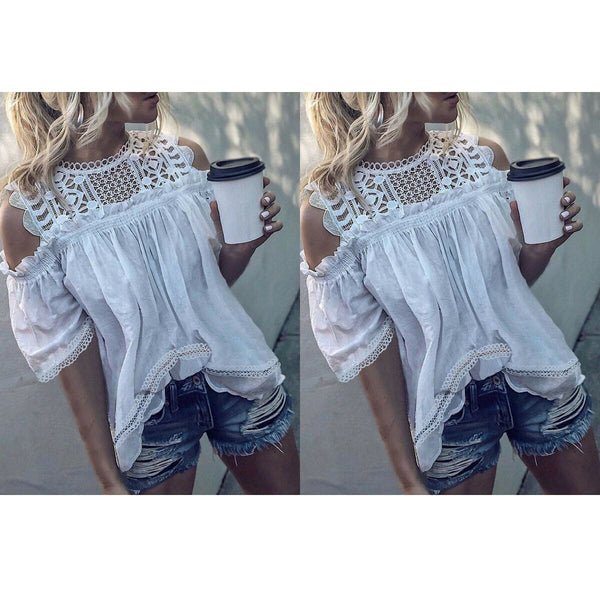 The Best Fashion Women Summer Off Shoulder Short Sleeve Shirt Lace Casual Tops Tee Hollow Out Hot Sexy Beach Loose T-shirts Online - Hplify