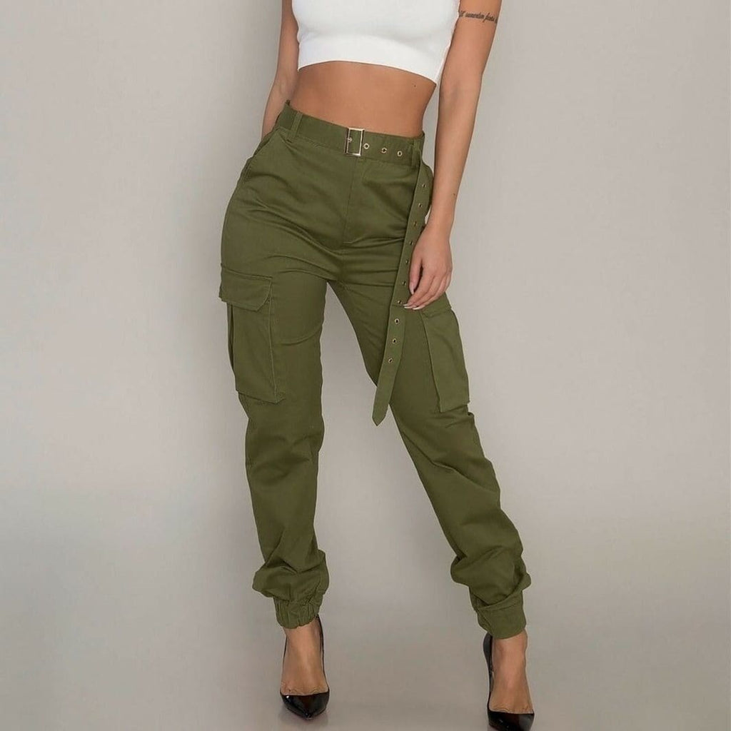 Fashion Womens Camouflage Camo Cargo Army Pants High Waist Hip Hop Harem Joggers Sport Sweatpants Trousers - Bottoms