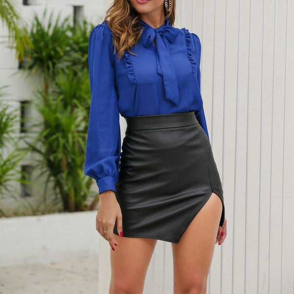 The Best Fashion Women's Lady Sexy Black Leather Pencil Skirt Summer Bodycon Slim Fit High Waist Mini Short Skirt Streetwear Online - Hplify