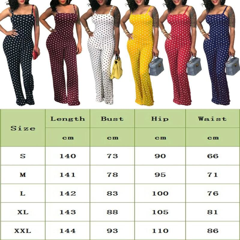 The Best Fashion Women's Playsuit Ladies Polka Dot Summer Beach Sleeveless Romper Wide Leg Long Pant Trouser Holiday Jumpsuits Online - Hplify
