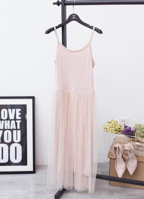 The Best Female Loose Spaghetti Strap Mesh Ladies Dresses Online - Source Silk