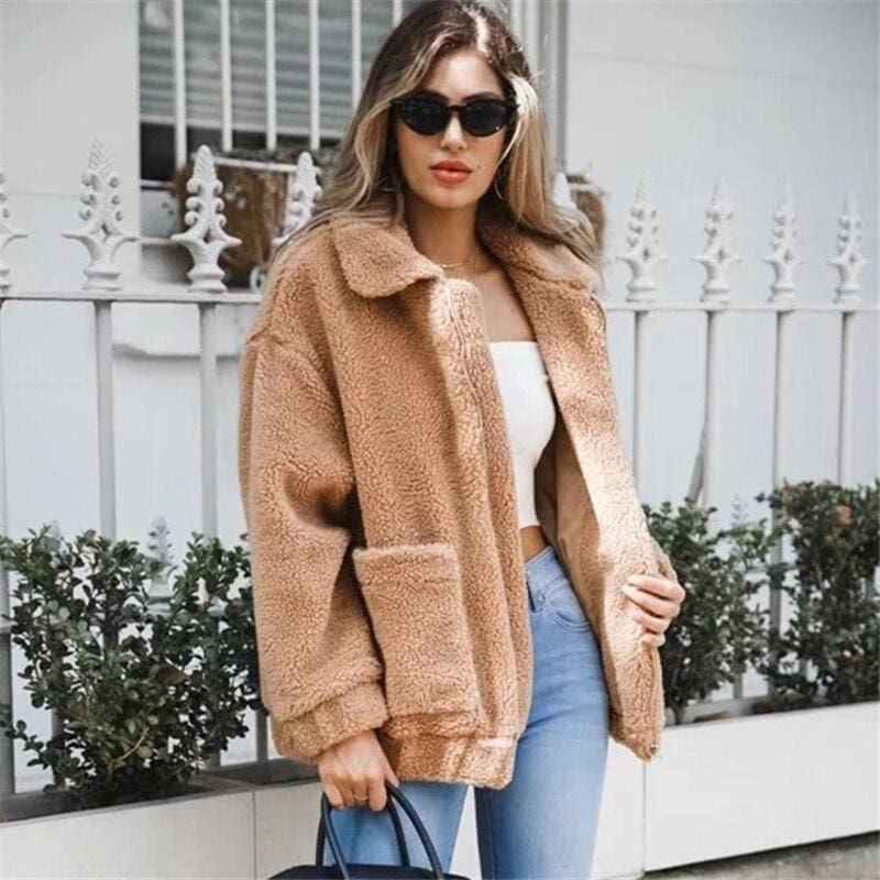 Fleece Faux Fur Winter Warm Teddy Bear Double Sided Cashmere Coat - Womens Tops