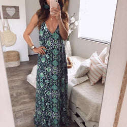 The Best Floral Dress Ladies V neck Summer Beach Holiday Sleeveless Sundress Online - Hplify