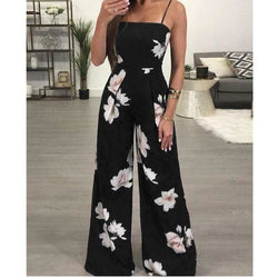 The Best Floral Dungarees Jumpsuit Fashion Trend Sling Print Wide Leg Loose Long Pant Trousers Online - Hplify