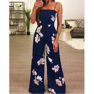Buy Cheap Floral Dungarees Jumpsuit Fashion Trend Sling Print Wide Leg Loose Long Pant Trousers Online - Hplify