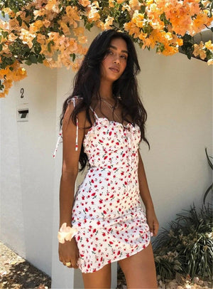 Buy Cheap Floral Print Dress Shoulder Straps Slim Fit Mini Sweet Frill Dress Online - Hplify