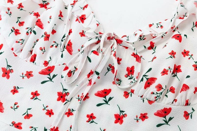 The Best Floral Print Dress Shoulder Straps Slim Fit Mini Sweet Frill Dress Online - Source Silk