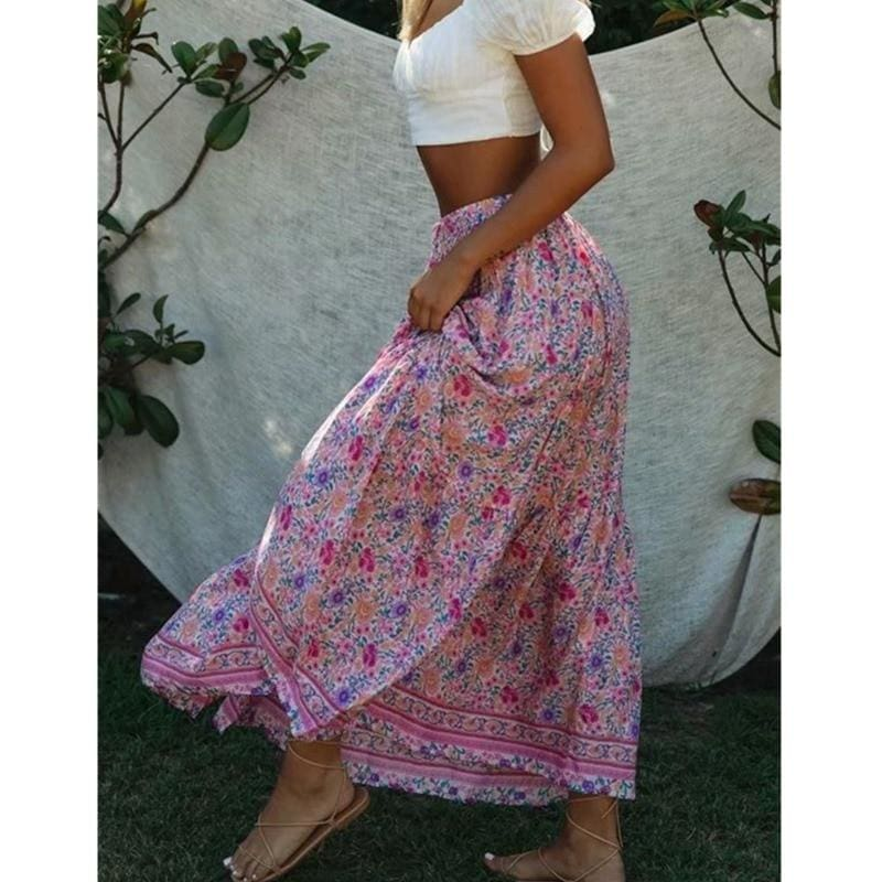The Best Floral Printed Vintage Skirt Elastic High Waist Beach Skirts Casual Ladies Boho Skirts Online - Hplify