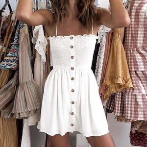Front-breasted White Elastic Waist Sling Strap Dress - white / S - Strapless Dress