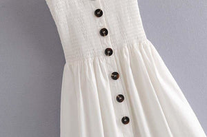 Front-breasted White Elastic Waist Sling Strap Dress - Strapless Dress
