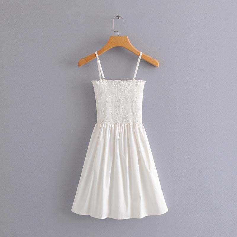 The Best Front-breasted White Elastic Waist Sling Strap Dress Online - Source Silk