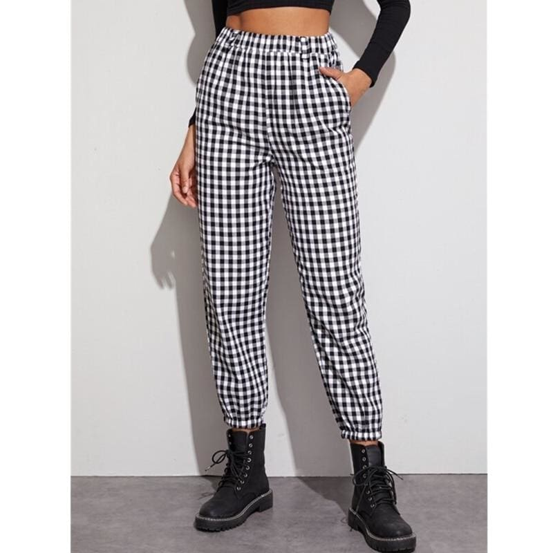 The Best Gingham Plaid Print Elastic High Waist Joggers Sport Trousers Casual Harem Pants Online - Hplify