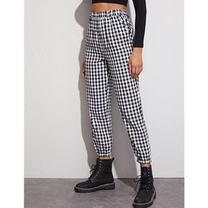 Buy Cheap Gingham Plaid Print Elastic High Waist Joggers Sport Trousers Casual Harem Pants Online - Hplify