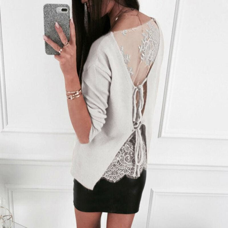 The Best Gothic Lace Up Backless Top Blouse Ladies Slim Fit Jumper Pullover Top Shirt Online - Source Silk