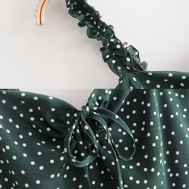 The Best Green Polka Dot Dress Women Sleeveless V neck Strap Summer mini Dress Online - Source Silk