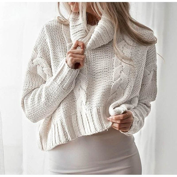 The Best Harajuku Turtleneck Crop Sweater Autumn Winter Knitted Jumper Online - Source Silk