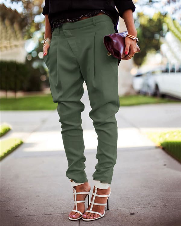 The Best Harlan Fashion Casual Overall Bottoms Skinny Stylish Pants Online - Hplify