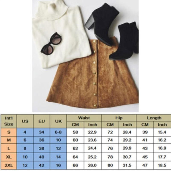 The Best Hot Fashion Elegant Women Ladies Summer Skirts High Waist Single Breasted Button Solid Slim A-Line Suede Leather Mini Skirts Online - Hplify