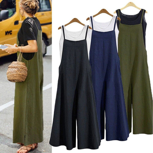 The Best Hot Summer Women Strappy Solid Comfy Wide Leg Jumpsuits Women Casual Loose Dungarees Bib Overalls Cotton Linen Rompers Plus Size Online - Hplify