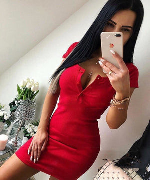 Knit Sheath Mini Dresses Bodycon Dress - Red / S - Womens Dress