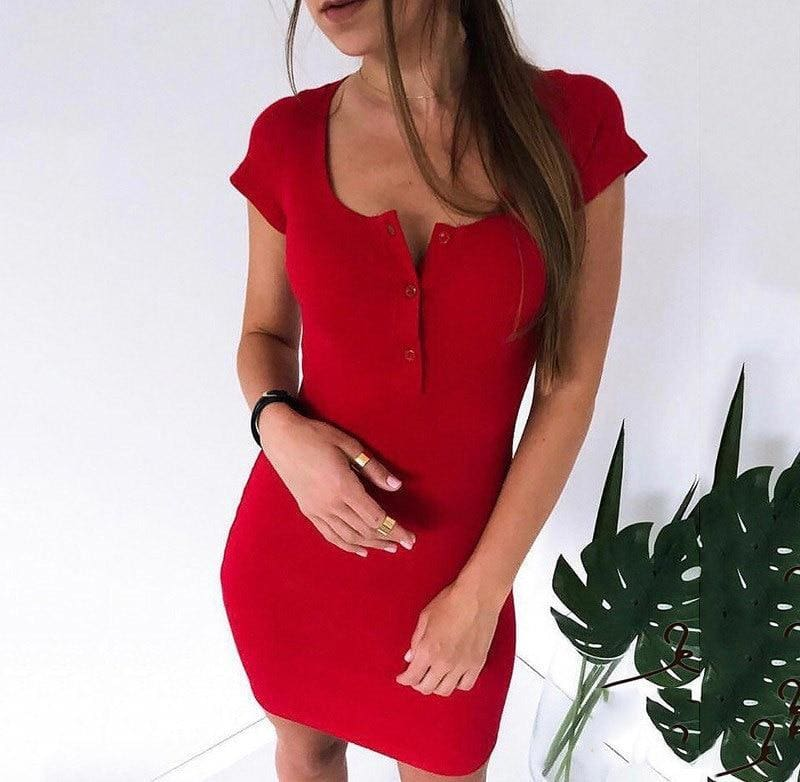 Knit Sheath Mini Dresses Bodycon Dress - Womens Dress