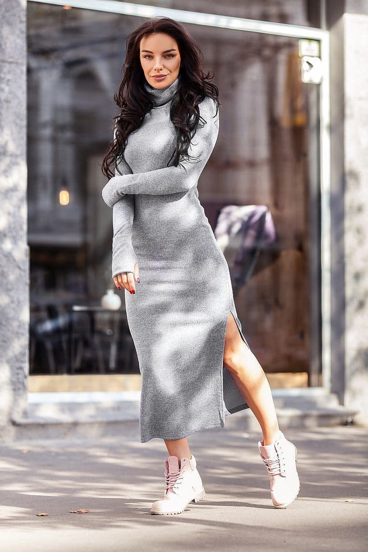 The Best Knitted Bodycon Maxi Dress V Neck Long Sleeve Women Long Thin Dress Online - Source Silk