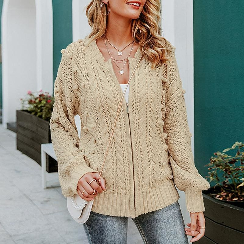 The Best knitted cardigan women 2019 Casual zipper female streetwear Autumn Online - Source Silk