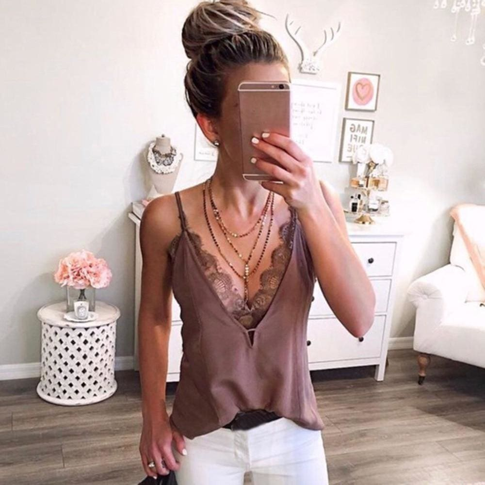 Lace Patchwork Strappy Sleeveless Camis Vest - Womens T-Shirt