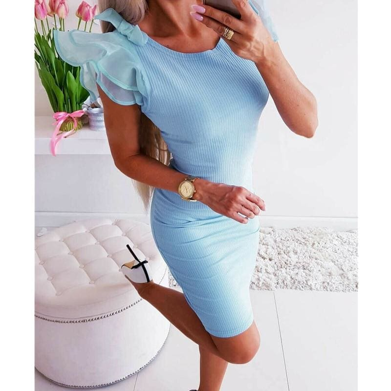 The Best Lace Short Sleeve Bandage Bodycon Mini Dress Gown Dress Sundress Online - Hplify