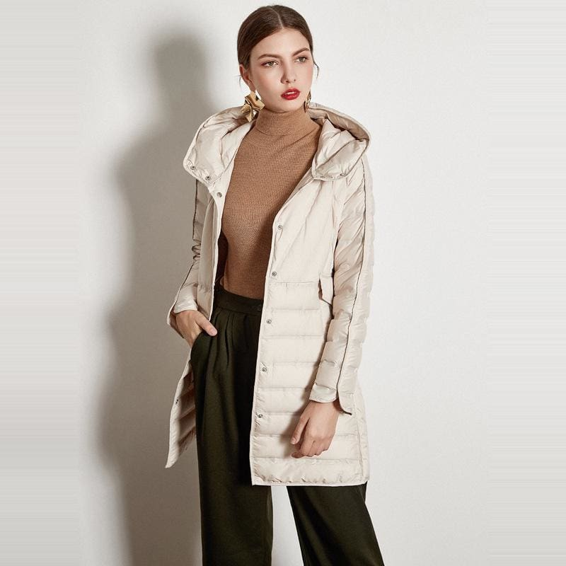 The Best Lace-up Hooded Down Jacket White Duck Down Coat Female Winter Coat Online - Hplify