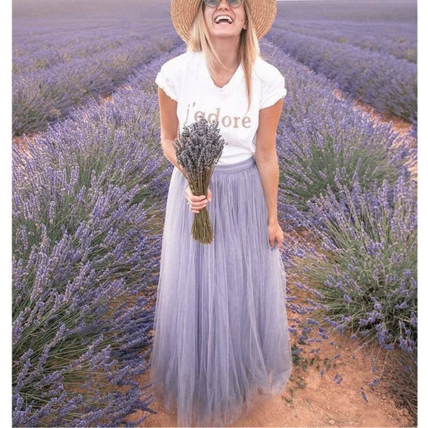 The Best Ladies Elegant Double Mesh Skirts Pleated Long Maxi Dress Skirt Women's Beach Beautiful Lace New Light Purple Wear Online - Hplify