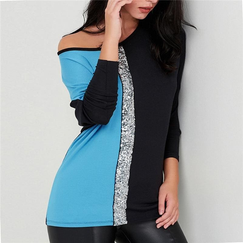 The Best Ladies Tops Off Shoulder Long Sleeve Shirt Sequin Patchwork Tunic Online - Source Silk