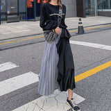 Buy Cheap Ladies Two-Color Stitching Pleated Skirt Elastic High Waist Blue Black Casual Flared Long Dress Online - Hplify