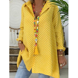 The Best Ladies V-Neck Casual Blouse Long Sleeve Polka Dot Shirt Tops Shirts Online - Hplify