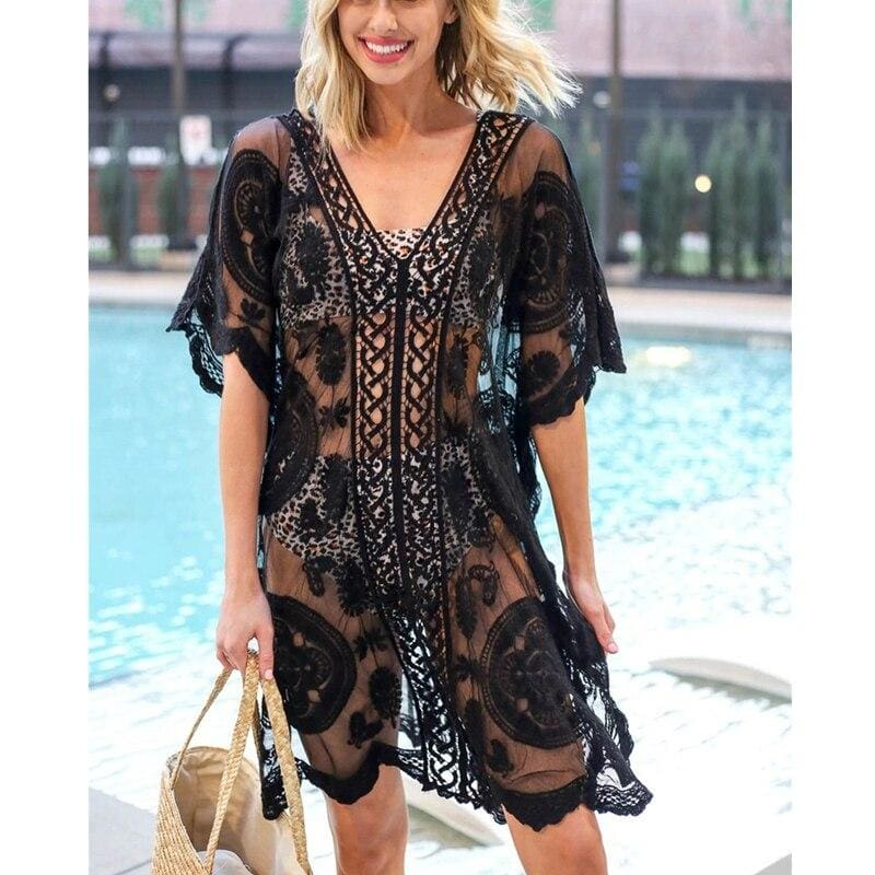The Best Ladies Women Lace Crochet Bikini Cover Up Swimwear Bathing Suit Summer Beach Mini Dress Swimwear Online - Source Silk