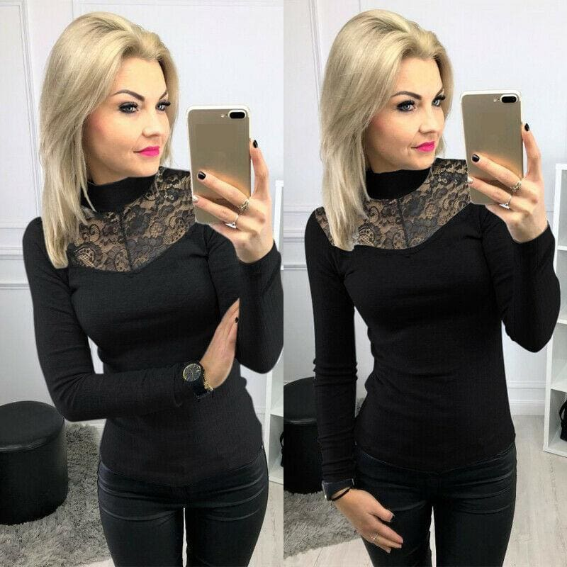 The Best Lady Women Lace Hollow Out Stand Collar Slim Fit Comfortable Bassic Shirt Top Long Sleeve Casual Tops Online - Source Silk