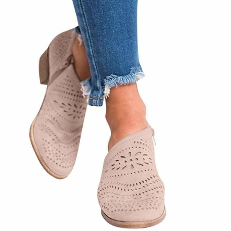 The Best Leisure Hollow Low-heeled Shoes Women Sandals Online - Source Silk
