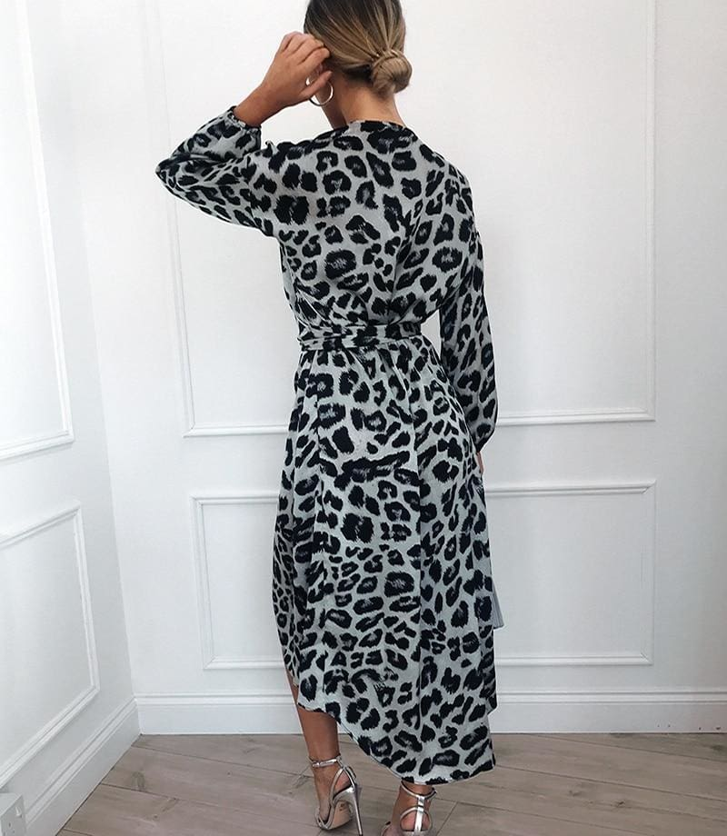 The Best Leopard Dress Women Loose Long Sleeve Deep V-neck A-line Dress Online - Source Silk