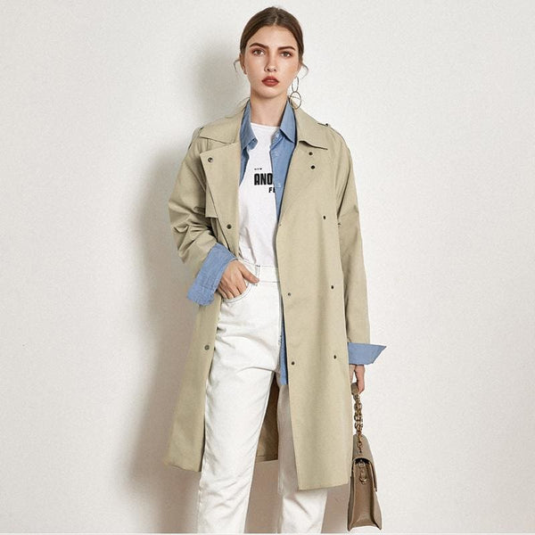 The Best Light Khaki Windbreaker Female Long Loose Coat Online - Hplify