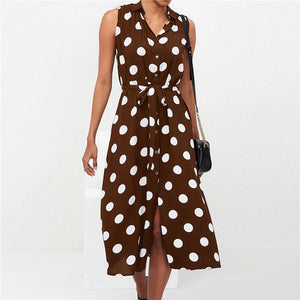 Long Dress Women Summer Boho Style Casual Office Shirt Dress - Brown / S - Womens Dress