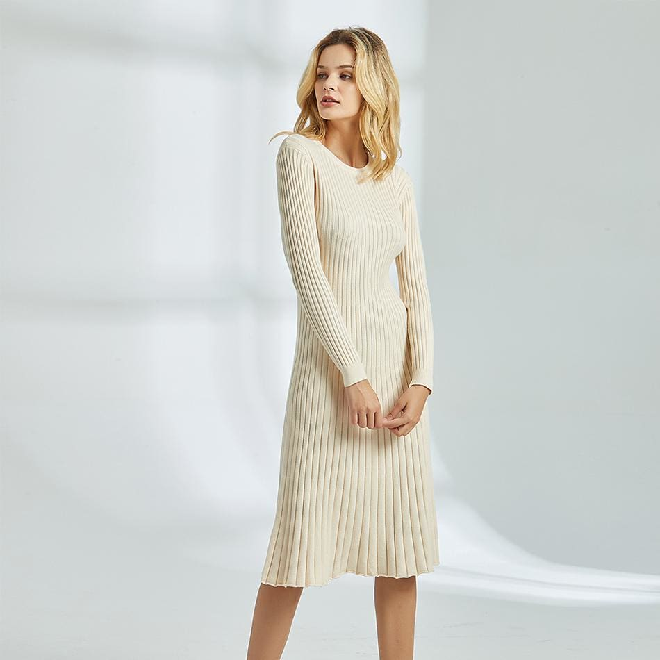 The Best Long Knitted Sweater Dress for Women Casual Winter Sweater Dress Online - Source Silk