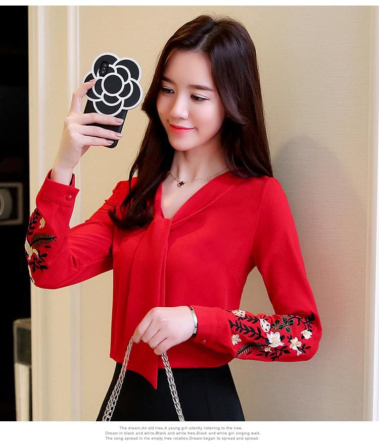 The Best Long sleeve embroidery chiffon blouse womens and 2019 office shirt Online - Hplify