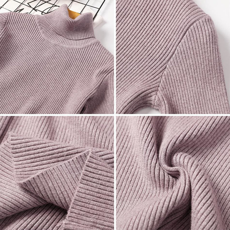 The Best Long Sleeve Ribbed Sweater for Women Warm Pullover Knitted Sweater Online - Hplify