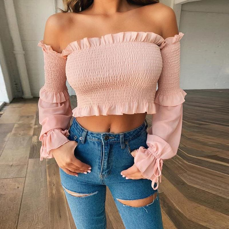 The Best Long Sleeve Top Ribbed Elastic Pleated Frill Vintage Blouse Women Fall Online - Source Silk