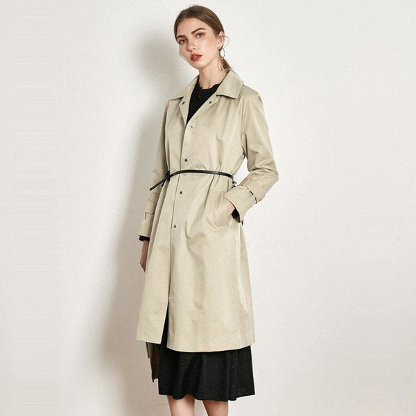 The Best Loose Ties Windbreaker Female Middle Long British Lapels Jacket Online - Hplify