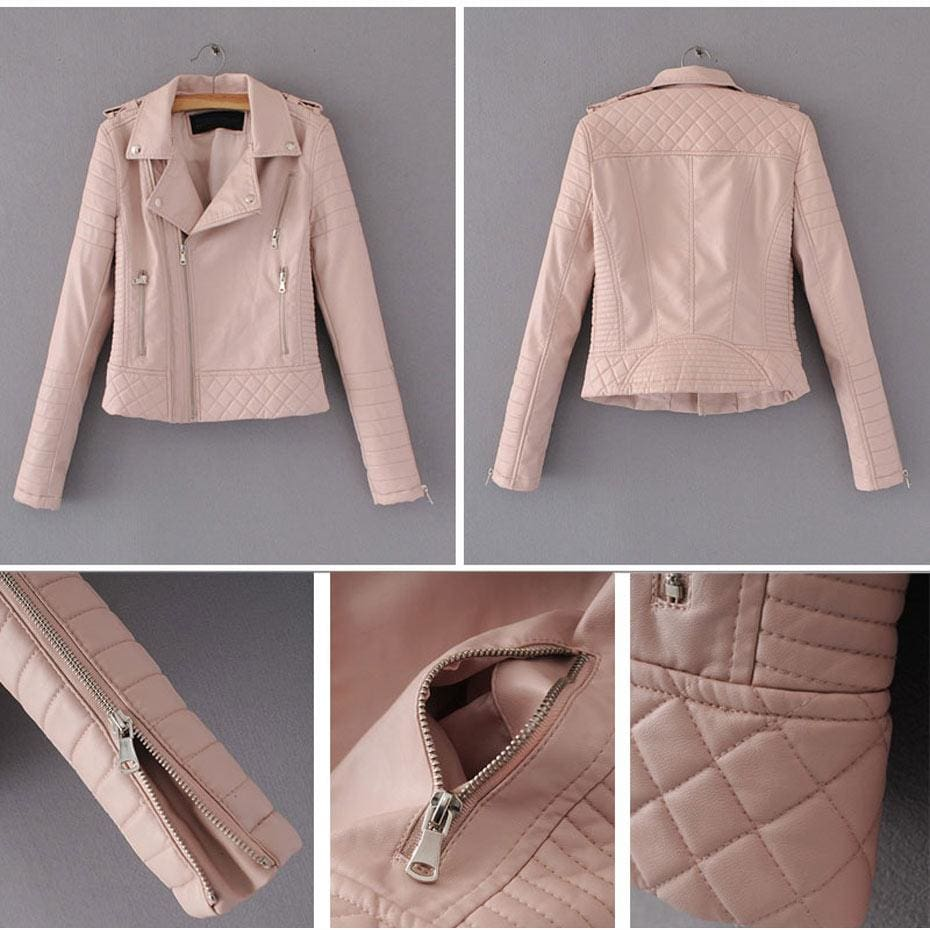 The Best Lozenge Leather Jacket for Women Rivet Punk Moto Coat Faux Jacket Online - Source Silk