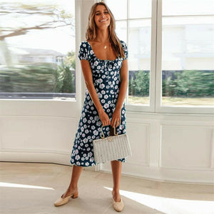 Maxi Floral Dress Ladies Holiday Casual Beach Swing Dresses Casual Boho Short Sleeve Square Neck Holiday Dress - Blue / S - Dresses