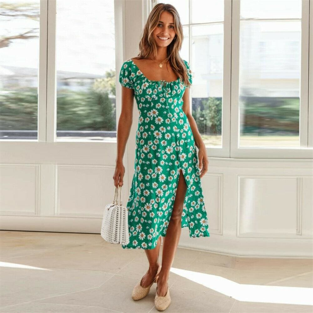 Maxi Floral Dress Ladies Holiday Casual Beach Swing Dresses Casual Boho Short Sleeve Square Neck Holiday Dress - Green / S - Dresses