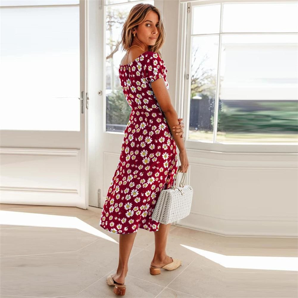 Maxi Floral Dress Ladies Holiday Casual Beach Swing Dresses Casual Boho Short Sleeve Square Neck Holiday Dress - Dresses