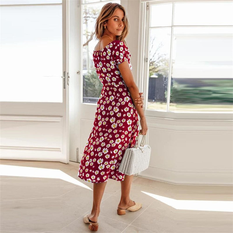 The Best Maxi Floral Dress Ladies Holiday Casual Beach Swing Dresses Casual Boho Short Sleeve Square Neck Holiday Dress Online - Hplify